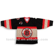 authentic Sublimated Black and Red customized Hockey wear