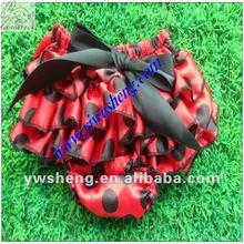 Lady bug satén bombachos de color rojo con negro de satén bloomers
