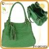 fashion green crocodile shoulder bag with tassel