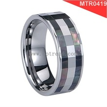 Two rows shell inlaid tungsten rings,shiny polished and faceted surface effect