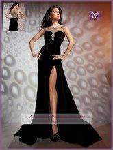 APB0453 Sexy See Through Back Design Bateau Neck Black Velvet Evening Dress Fashion 2012