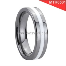 Flat tungsten men rings,4mm,6mm,8mm could be customized,with white resin inlay