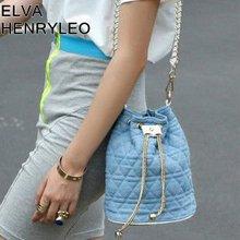 Western N/S jean canvas barrel classic chain casual cute ladies messenger bag