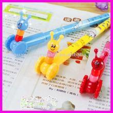 fashion cute cartoon snail on wheel new plastic pen