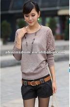2012 fashion autumn loose lace knited sweater