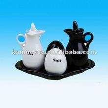 Black and white ceramic cruet jar set
