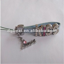 2012 fashion zinc alloy letter charm leather strap