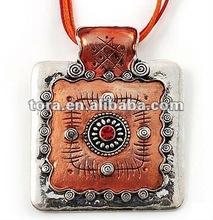 Fishion Ornate Orange Square Enamel Cord Pendant enamel pendant fashion necklace 2012