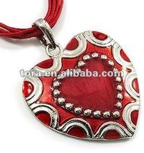 Fishion Enamel Heart Cotton Cord Pendant Necklace(Silver Tone) enamel pendant heart pendant fashion necklace 2012
