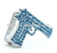 fashion full of crystal gun shaped two finger ring