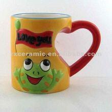 2010 Hand-Pinted Animal Heart Shaped Ceramic Mug - Frog