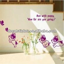Run With Puppy Dog &Butterflies Cartoon Home Decor Vinyl Wall Art Stickers