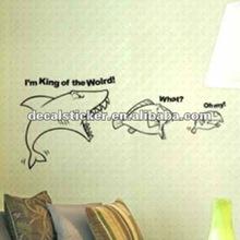 """I am King of World "" Shark Design Decorative Anti-water Wall Mural Vinyl Decal&Sticker"