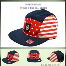 fashion star & strip printed 5 panel flat brim caps hats ccap-0460