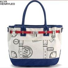 Elva Henryleo 2012 latest korea style women canvas handbag,lady 3 color multifunction shoulder bag