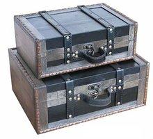 set/2 antique wooden trunks,wooden trunk