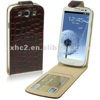 Wholesale Hot Crocodile Texture Vertical Flip Leather Case with Credit Card Slot for Samsung Galaxy SIII i9300 Black
