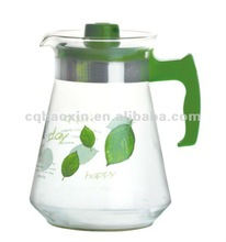 glass cool water pot with printing factory (green color) 2000ML