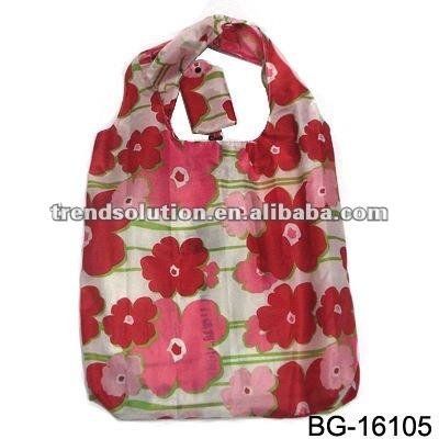 trendy handle rose folding shopping bag for women