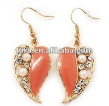 Fashion Gold Plated Coral Enamel Crystal & Pearl 'Leaf' Drop Earrings gold earrings 2012 new design leaf shape earrings