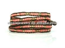 2012 Fashion Semi Precious Round & Beads On Leather Five Wrap Bracelet