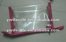 2012 fashion pvc packaging bag with leather rim