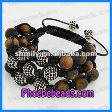 2012 Hot Sale Fashion 3 Row Shamballa Bead Bracelets PSBA30-2