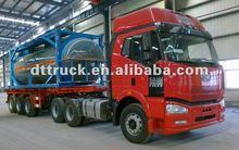 ISO tank container 2/3 Axle plastic- lined steel chemical liquid tank semi trailer,semi-trailer for HCL, NaOH ,NaCIO H2SO