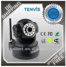 Tenvis WiFi Lan/WLan zwei-Wege Audio Pan Tilt IP Kamera MAC / Windows / Linux kompatibel Nachtsicht, Alarm Ausgang,