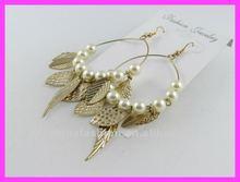 2012 fashion gold leaf earring,peal earring