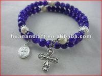 religious rosary crucifix cross statue keychain pendant wooden beads souvenir creative trophy