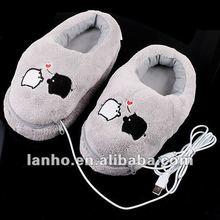usb peluche scarpe scaldapiedi elettrico calore pantofola carino salvadanaio grigio