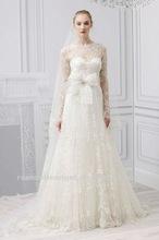 2012 New design elegant high neck long sleeve lace wedding dress