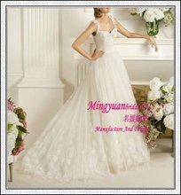 Straps Tulle Applique New lace bridal gowns 2012