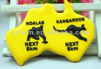 PVC promotional rubber fridge magnet Australia shaped with kangaroo fridge magnet