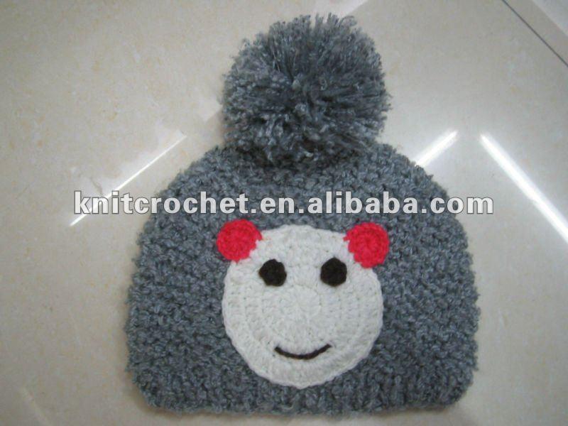 Mão Crochet Knit Beanie Hat com Crochet urso Panda Motif ( KCC-TM00141 )