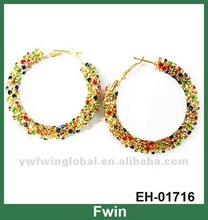 New design fashion hoop crystal earrings for women 2012