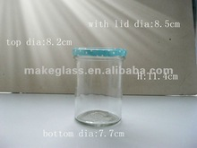 clear round glass fruit container/glass storage jar/food storage with tinplate lid