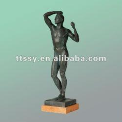 Brass man nude statue