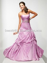 Strapless pink asymmetrical ruching ball skirt cocktail dress with shiny crystals waistline accents CDTP4639