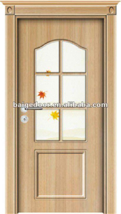 Bg tp9009 moderna puerta de madera con el vidrio puertas