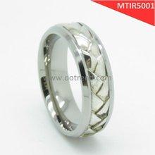 Fashion titanium wedding bands,with braided 925 silver silver inlaid