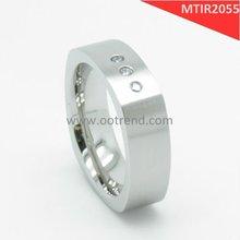 Square Burshed Titanium rings,comfort fit men titanium rings inlay three stone