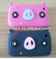 Pig shape cute silicone back skin smart cover case for Blackberry 8520