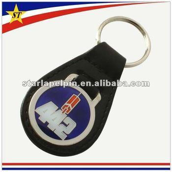 Promotional custom logo car brand pu leather key ring