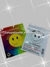 Custom & lovely plastic foil paackaging bag with zipper handle--Mr. Happy for potpourri