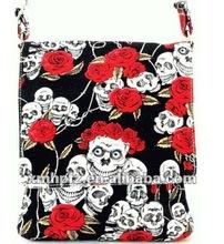 new black bohemian skull rose funky messenger bag