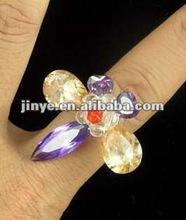 Fashoin Bling Bling White Zircon Big Gemstone Ring