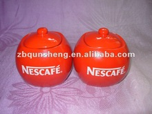 red glazing, nescafe ceramic sugar bowl