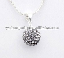 2012 Wholesale crystal pave shamballa pendant,12mm black diamond color!